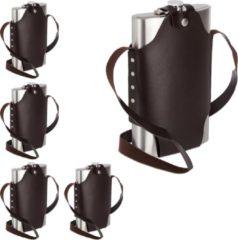 Zilveren Relaxdays 5 x platvink edelstaal XXL - heupfles 1.8 liter - zakflacon - draagriem - rvs