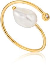 Ania Haie Ringen AH R019-01G 925 Sterlin Zilver Pearl of Wisdom Rin Goudkleurig