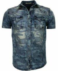 Enos Denim Heren Overhemd - Korte Mouwen - Leger Motief - Blauw Casual overhemden heren Heren Overhemd Maat XS