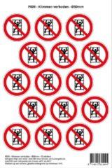 Rode Stickerkoning Pictogram sticker P009 - Klimmen verboden - Ø 50mm - 15 stickers op 1 vel