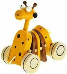 Gele Bino mertens Houten trekfiguur Giraf