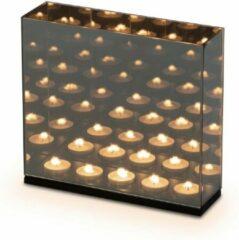 Zilveren Distinq Waxinelichthouder - Spiegelglas Met Infinity Effect - Voor 5 Theelichtjes 28x8x26 Cm