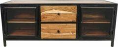 Naturelkleurige HSM Collection TV meubel Kingston - acacia/ijzer/glas