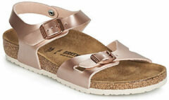 Gouden Birkenstock Kids' Rio Slim Fit Double Strap Sandals - Electric Metallic Copper - EU 34/UK 2