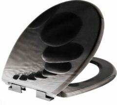 Grijze TecTake - WC bril - toiletbril - soft close - premium - steen - 402260