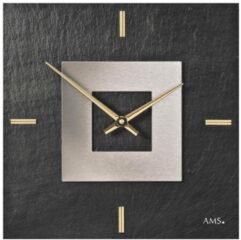 Grijze AMS Wandklok Leisteen- Aluminium 9525