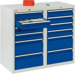 Stumpf Metall Stumpf® STS 410 Schubladenschrank mit 12 Schubladen, lichtgrau / blau - 90 x 100 x 50 cm