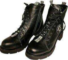 Witte La Pèra Leren Veter Boots Cassido Enkellaarsjes Zwart Dames - Maat 36