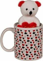Witte Merkloos / Sans marque Valentijnsdag cadeau beker met knuffelbeer - valentijn cadeautje voor hem / haar