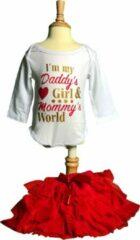 "Rode Baby, Rompertje, ""I'm my Daddy's girl & Mommy's World"" Tutu, FIFO Romper"