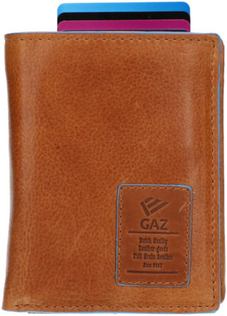 Afbeelding van Gaz Billfold met Kaarthoudervak RFID Blue Line Cognac