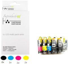 Paarse Improducts® Huismerk Inktcartridge Alternatief Brother LC-123 / 123 Inktpatronen Compatible Multipack Set 5 pack (2x LC123BK zwart, 1x LC123C cyaan, 1x LC123M magenta, 1x LC123Y geel) 5 stuks