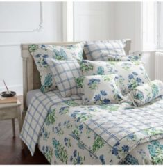 Laura Ashley Nackenrollenbezug Fernshaw Cornflower Blue Satin Laura Ashley blau-grün-weiß