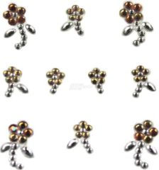 YOUNG NAILS YOU Nails Nail Art Tattoo Design Nail Stickers 1 Vel - 10 Stickers - Flowers - white / gold