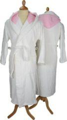 Roze ARTG Robezz® Badjas - Gekleurde Capuchon - White/Pink - XXXL