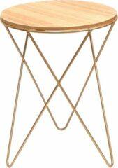 Gouden Plant&More- Bijzettafel rond, trendy salontafel, metaal en Hout, retro design