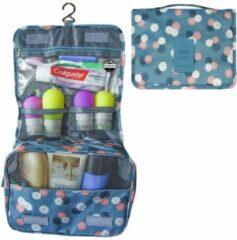 Reismonkey Ophangbare Toilettas met Haak – Blauw/Grijs met Bloemen print – Travel Bag Organizer voor Dames/Meisje – Hangende Make-up Tas/Cosmetic Bag – Reizen - Cadeau voor Dames/Vrouwen