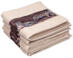 Beige Cottonbelle Handtuch, Druckbordüre Tiger, 4er Set