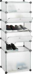 Transparante Relaxdays schoenenrek kunststof - 6 vakken - schoenenkast - DIY vakkenkast - met kleppen doorzichtig