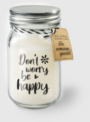 Witte Paper dreams Black & White geurkaars - Don't worry be happy