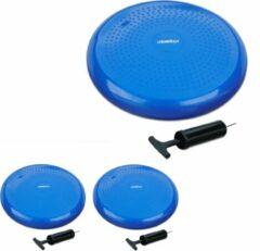 Relaxdays 3x wiebelkussen 33 cm + luchtpomp - balkussen - balanskussen - balansbord blauw