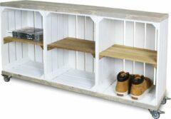 Steigerhoutpassie Schoenenkast - Mobiel - Mobiel - Wit - Legplank Bruin - 120x30x63 cm