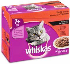 Whiskas Senior Vlees Selectie in Saus maaltijdzakjes multipack 12x100g 1x4