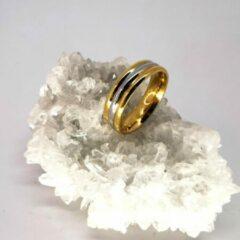 Lili 41 Edelstaal goudkleurig triple diagonale streep ring, beide zijkant goud en midden zilverkleur. maat 20. Deze ring is zowel geschikt voor dame of heer.