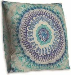 Blauwe Cusco Mandala kussenhoes – DUBBELZIJDIG BEDRUKT - Soft Touch – 45 x 45 cm