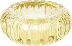 Clayre & Eef Glazen Theelichthouder 6GL2438 Ø 9*3 cm - Geel Glas Waxinelichthouder Windlichthouder