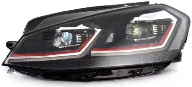 Afbeelding van AutoStyle Set LED Koplampen passend voor Volkswagen Golf VII Facelift (7.5) 2017- - Zwart/Rood - incl. Dynamic Running Light