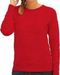 Fruit of the Loom Rode sweater / sweatshirt trui met raglan mouwen en ronde hals voor dames - rood - basic sweaters XS (34)