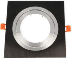 Groenovatie LED line Inbouwspot - Vierkant - Kantelbaar - Aluminium - AR111 Fitting - 180x180 mm - Mat Zwart