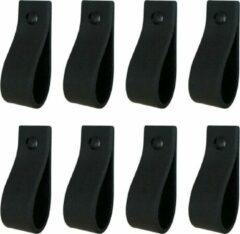 Zwarte Handles and more Leren handgrepen / Lus - 8 Stuks - VINTAGE BLACK - maat S (15,8 x 2,5 cm) - incl. 3 kleuren schroefjes