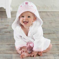 Witte PimPom Badjas Prinses - Met capuchon - 0-12 maanden