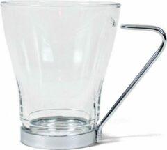 Transparante Orange85 Glazen Kopjes - 6 stuks - Koffiekopjes - Theeglas - Glas - Metaal
