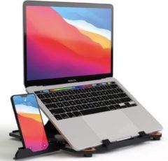 Rode ProSolve Laptop standaard verstelbaar met telefoonhouder - universeel - zwart - 8 standen - 13 inch t/m 17 inch - laptop stand - laptop verhoger - voor bed en bureau
