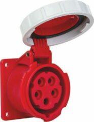 Mete - CEE female - inbouw - 5 polig 6H 16A IP67 - waterdicht - kracht - rood - stekker 380-415VAC