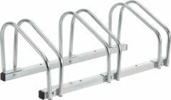 Zilveren Neu.haus Fietsenrek voor 3 fietsen 72x33x26 cm gegalvaniseerd staal