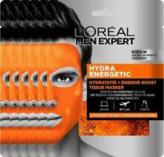 L'Oréal Paris Men Expert L'Oréal Paris Men Expert Hydra Energetic Tissue Gezichtsmasker - 5 stuks - Herstelt en Hydrateert - Voordeelverpakking
