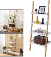 Ladderrek van bamboe hout - Houten decoratie ladder - Open ladderkast / bamboe ladder / plantentrap / boekenkast / traprek / ladder rek - luxe opbergrek met 4 treden - Wit - Decopatent®