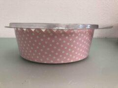 La Cucina Papieren bakvorm, roze met witte stipjes ( 3 stuks )