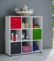 Badregal Raumteiler Badschrank Badmöbel Regal Hochschrank 'Benos-3x3' Weiß 93 x 90 x 30 cm VCM Weiß