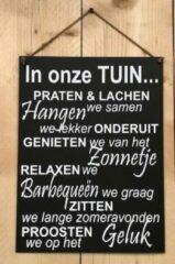 Antraciet-grijze 't Zinkhuysje Zinken tekstbord in onze tuin... - antraciet - 30x40 cm.