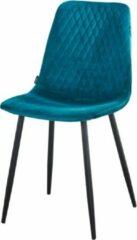 Velvet stoel - Kuipstoel - Fluweel Turquoise - Stevige zwart metalen poten - Troon Collectie - model Ariane - Gestikt ruitjespatroon