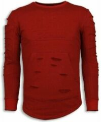 Justing 3D Stamp PARIS Trui - Damaged Sweater - Rood Sweaters Heren Sweater Maat XL