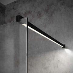 Inloopdouche Bellezza Bagno StabiLight 100x195cm 8 mm Helder Glas Antikalk Inclusief Stabilisatiestang Met Verlichting Mat Zwart