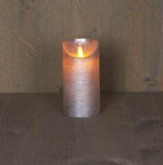 Rode Batterijverlichting kaars wax rustiek met bewegende vlam zilver 15 cm Anna's Collection
