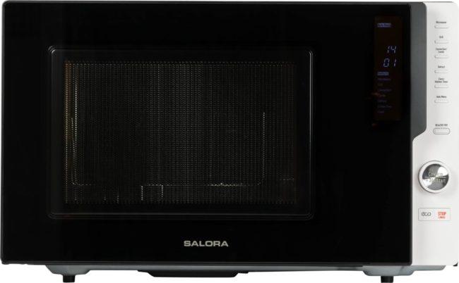 Afbeelding van Witte Salora 28MCD900 - Vrijstaande combi magnetron met 28 liter inhoud en 900W vermogen, voorzien van een grill en convectie functie, diverse standen en 10 voorgeprogrammeerde menu's