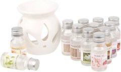 Witte HANOO Oliebrander set met 12 geuroliën - Aromaverspreider - Aromaverdamper - Geurolie